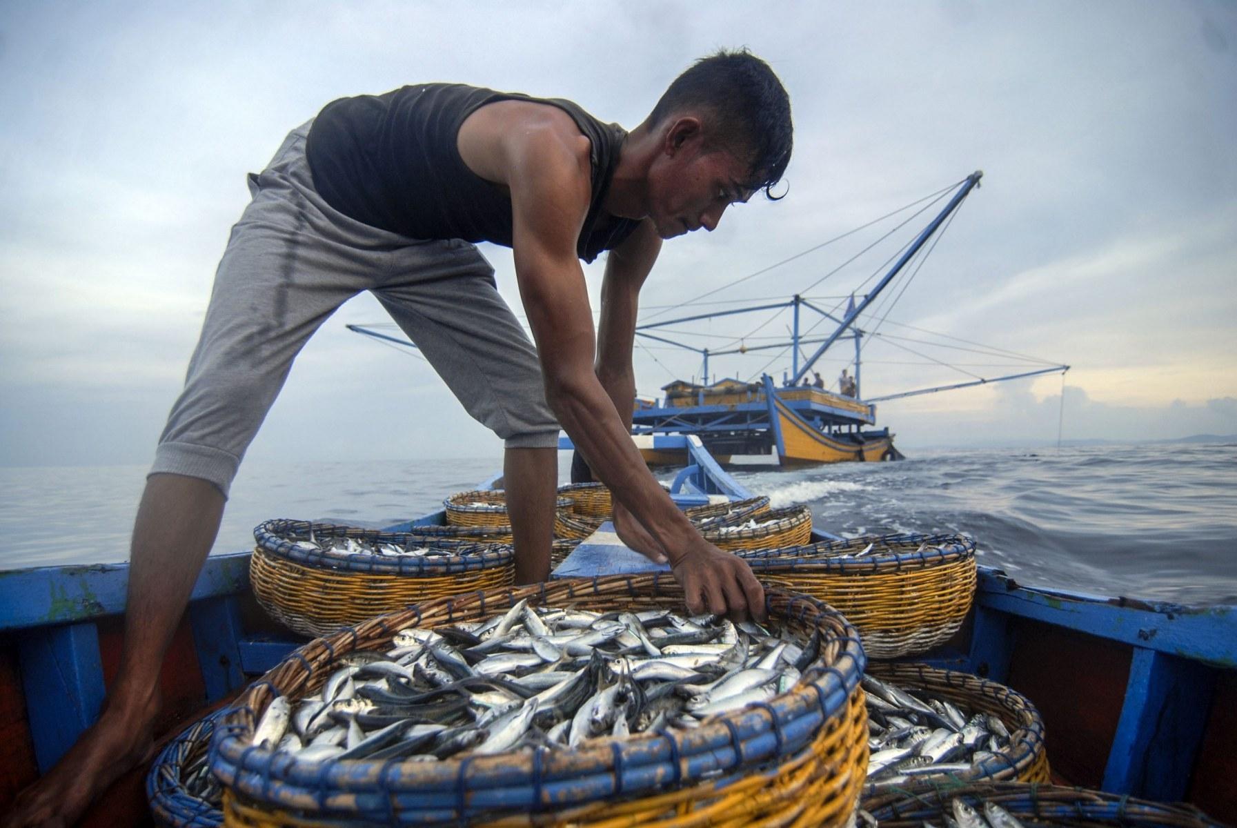 Nelayan pulang membawa hasil di Teluk Lhok Seudu, Sabtu (14/4/2018). Nelayan palong cenderung menghemat operasional dengan tidak membawa es, selain ikan yang langsung dibawa pulang setelah ditangkap lebih terjaga kesegarannya.